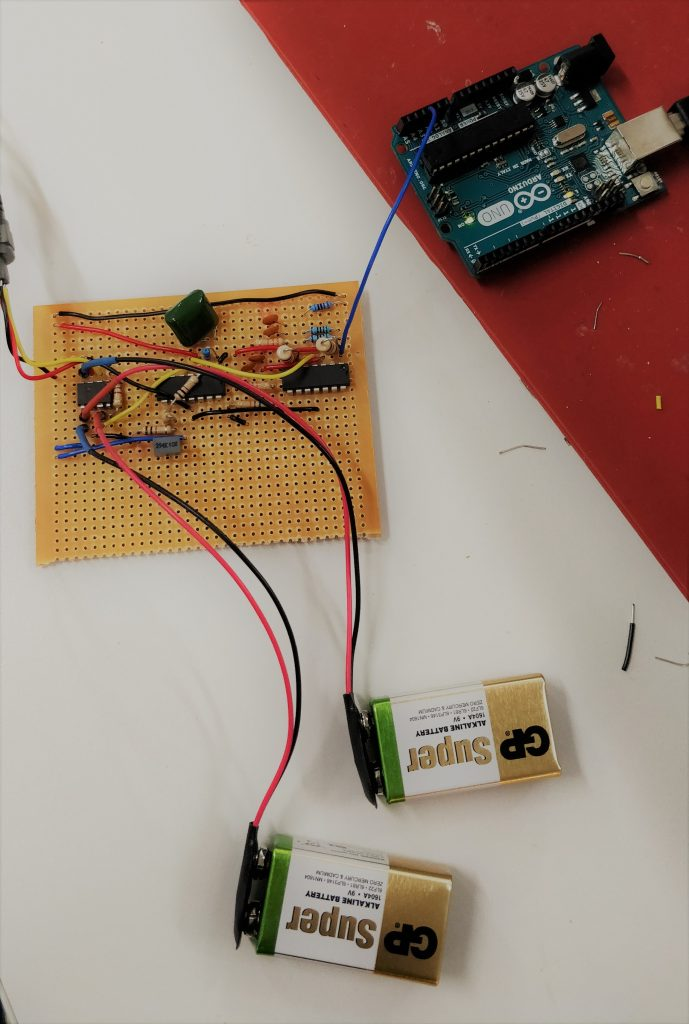 Circuit connected to Arduino and batteries